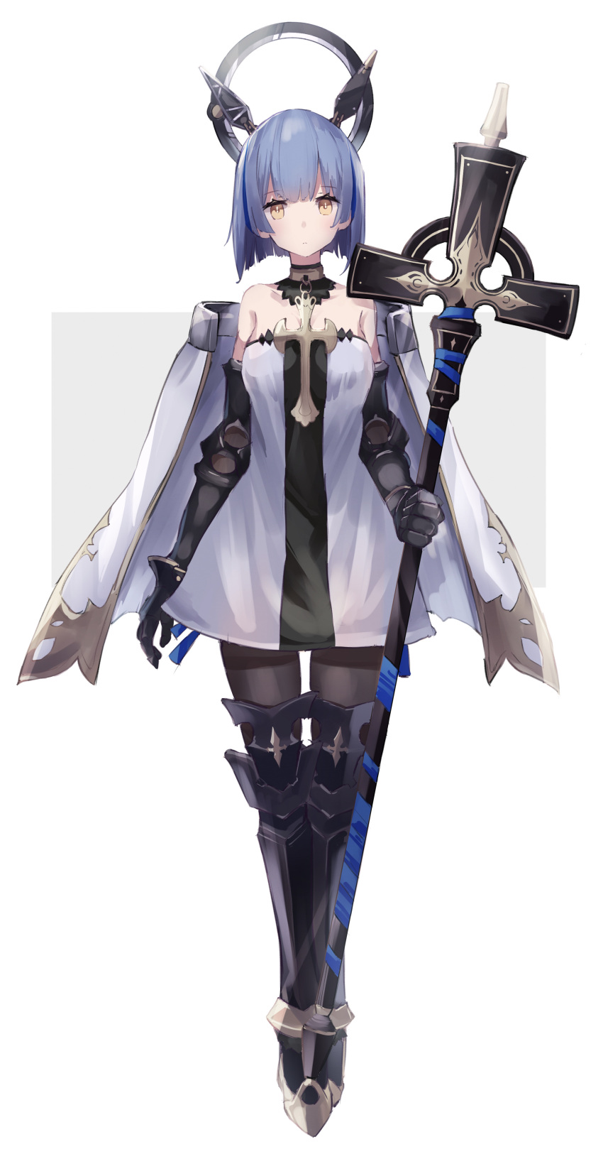 1girl :< absurdres arm_at_side armored_boots azur_lane bangs bare_shoulders black_footwear black_legwear blue_hair blush boots cape closed_mouth cross dress eyebrows_visible_through_hair floating floating_object fujii_shino full_body gascogne_(azur_lane) gauntlets halo halter_dress headgear highres holding looking_back pantyhose short_hair solo standing thigh-highs thigh_boots two-tone_background white_cape white_dress yellow_eyes