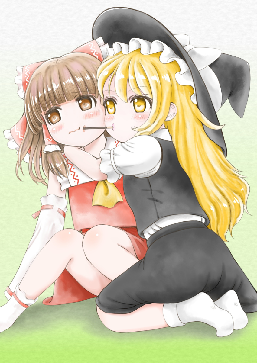 2girls arm_around_neck bangs black_skirt black_vest blonde_hair blunt_bangs blush bobby_socks bosutonii bow brown_eyes brown_hair cheek-to-cheek cheek_poking cravat detached_sleeves expressionless eyebrows_visible_through_hair food gradient gradient_background green_background hair_bow hakurei_reimu hat hat_ribbon highres hug kirisame_marisa knees_together_feet_apart long_hair looking_at_another looking_to_the_side mouth_hold multiple_girls o3o pocky pocky_day pocky_kiss poking puffy_short_sleeves puffy_sleeves red_skirt red_vest ribbon ribbon-trimmed_sleeves ribbon_trim seiza shirt short_sleeves sitting skirt socks touhou very_long_hair vest wavy_mouth white_legwear white_shirt witch_hat yellow_eyes yellow_neckwear
