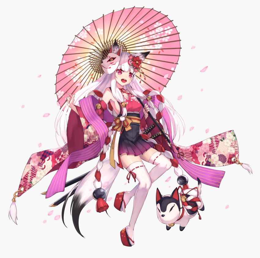 1girl :d absurdres animal_ear_fluff animal_ears bare_shoulders bell black_skirt commentary_request detached_sleeves floral_print flower fox_mask full_body grey_background hair_bell hair_flower hair_ornament highres holding holding_umbrella japanese_clothes jingle_bell katana kimono long_hair long_sleeves looking_at_viewer masaki_(msk064) mask mask_on_head obi open_mouth oriental_umbrella original petals platform_footwear pleated_skirt print_umbrella red_flower red_footwear red_kimono red_sleeves ribbon-trimmed_legwear ribbon_trim round_teeth sash sheath sheathed simple_background skirt sleeveless sleeveless_kimono smile solo sword tail teeth thigh-highs umbrella upper_teeth very_long_hair violet_eyes weapon white_hair white_legwear wide_sleeves