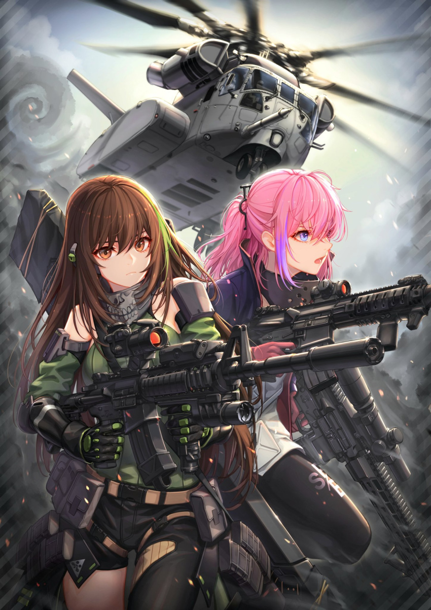 aircraft ar-15 arm_strap assault_rifle asymmetrical_pants baek_hyang bangs black_gloves black_pants blue_eyes breasts brown_eyes brown_hair city closed_mouth clouds cloudy_sky detached_sleeves dual_wielding finger_on_trigger floating_hair gas_mask girls_frontline glint gloves green_hair green_sweater gun hair_between_eyes helicopter highres holding holding_gun holding_weapon jacket long_hair looking_at_viewer m4_carbine m4a1_(girls_frontline) magazine_(weapon) mod3_(girls_frontline) multicolored_hair multiple_girls open_mouth outdoors pants pink_hair ponytail pouch ribbed_sweater rifle running sidelocks sky snap-fit_buckle st_ar-15_(girls_frontline) streaked_hair suppressor sweater sweater_vest thigh_strap weapon weapon_bag wind