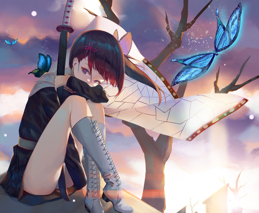 1girl arm_between_legs black_hair black_jacket black_skirt blue_butterfly boots bug butterfly butterfly_hair_ornament cape floating_hair grey_footwear hair_ornament hair_ribbon holding holding_sheath insect jacket kimetsu_no_yaiba knee_boots long_hair long_sleeves looking_at_viewer miniskirt nekobell outdoors pleated_skirt print_cape red_ribbon ribbon sheath sheathed side_ponytail sitting skirt solo tsuyuri_kanao violet_eyes white_cape