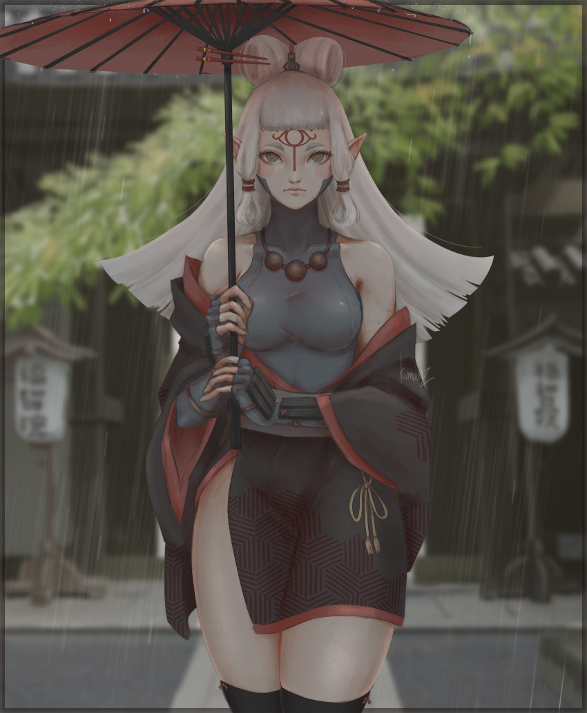 1girl bangs bare_shoulders black_border black_kimono black_legwear blunt_bangs border breasts brown_eyes building closed_mouth cowboy_shot day elf extra_ears facepaint facial_mark forehead_mark gloves grey_gloves highres holding holding_umbrella japanese_clothes kimono kumanz lantern long_hair long_sleeves looking_at_viewer medium_breasts off_shoulder open_clothes open_kimono oriental_umbrella outdoors paya_(zelda) pointy_ears rain shirt side_slit sidelocks signature silver_hair solo straight_hair taut_clothes taut_shirt the_legend_of_zelda the_legend_of_zelda:_breath_of_the_wild thigh-highs thighs umbrella wide_sleeves