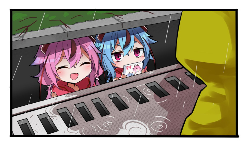 2others blue_hair box braid closed_eyes holding holding_box horns it_(stephen_king) long_hair looking_at_another meika_hime meika_mikoto multiple_others open_mouth parody pink_eyes pink_hair rain raincoat red_shirt ripples road roots sewer_grate shidoh279 shirt street twintails underground vocaloid yellow_raincoat
