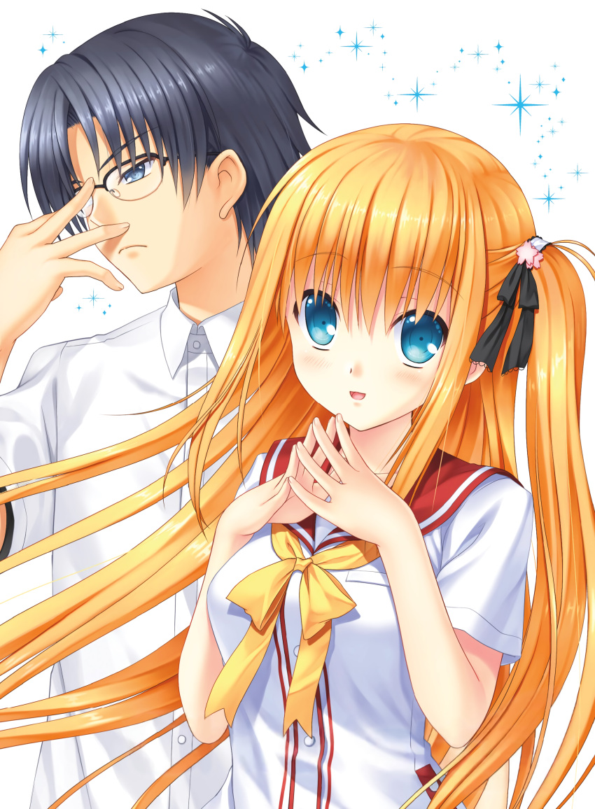 1boy 1girl :d absurdres adjusting_eyewear bangs black_hair black_ribbon blonde_hair blue_eyes blush charlotte_(anime) closed_mouth collared_shirt dress_shirt eyebrows_visible_through_hair frown glasses hair_between_eyes hair_ribbon highres hoshinoumi_academy_uniform long_hair na-ga nishimori_yusa open_mouth over-rim_eyewear red_sailor_collar ribbon sailor_collar sailor_shirt school_uniform semi-rimless_eyewear serafuku shiny shiny_hair shirt short_sleeves side_ponytail smile takajou_joujirou upper_body very_long_hair white_background white_shirt wing_collar