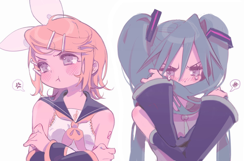 2girls :i :t anger_vein angry annoyed aqua_hair aqua_neckwear bare_shoulders blonde_hair blush bow covering_mouth crossed_arms detached_sleeves grey_eyes hair_bow hair_grab hair_in_mouth hair_ornament hairclip hatsune_miku highres inhye kagamine_rin long_hair looking_away multiple_girls necktie number_tattoo pastel_colors pout sailor_collar shirt shoulder_tattoo sleeveless sleeveless_shirt spoken_anger_vein spoken_squiggle squiggle tattoo tearing_up treble_clef twintails upper_body upset v-shaped_eyebrows very_long_hair vocaloid