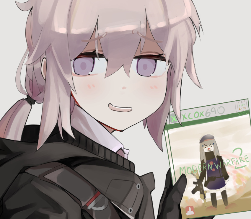>:( 2girls absurdres assault_rifle beret black_gloves black_legwear blush brand_name_imitation call_of_duty:_modern_warfare_2 clown_nose commentary copyright_name cover eyebrows_visible_through_hair game_console game_cover girls_frontline gloves grey_hair gun h&k_hk416 hat highres hk416_(girls_frontline) hood hoodie long_hair long_sleeves low_ponytail m200_(girls_frontline) mrbongson multiple_girls parody rifle smile thigh-highs violet_eyes weapon xbox_360
