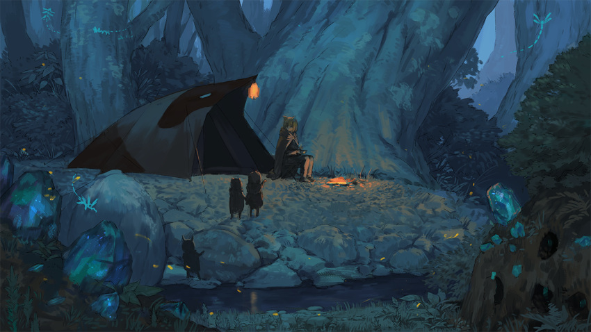 1girl animal_ears black_cloak black_pants bowl brown_cloak brown_hair cloak commentary_request evening forest holding holding_bowl hood hood_down hooded_cloak lantern nature original outdoors pants peeking_out river rock scenery sitting tent tree wasabi60 water