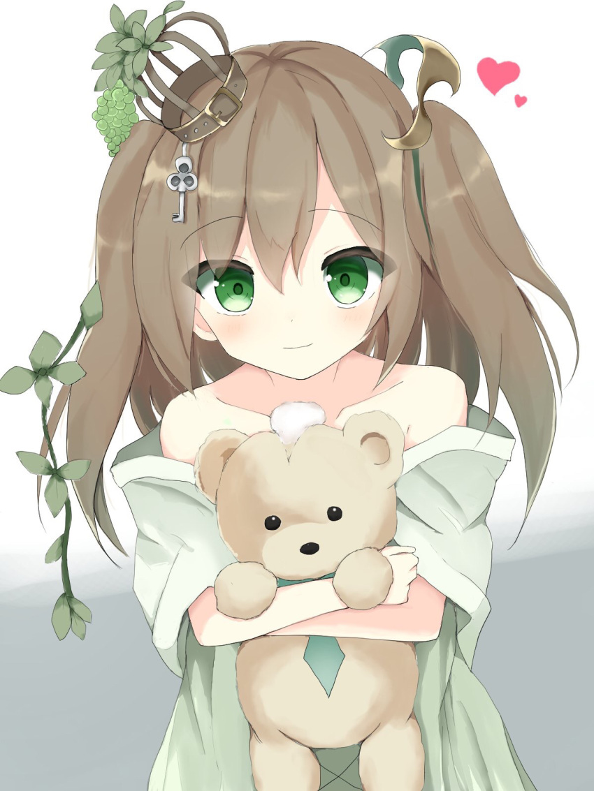 1girl bangs brown_hair character_request closed_mouth collarbone commentary_request crown damaged dress eyebrows_visible_through_hair food fruit grapes green_dress green_eyes hair_between_eyes heart highres key light_smile long_hair looking_at_viewer mini_crown mizu_(lzzrwi603) object_hug shadowverse solo stuffed_animal stuffed_toy teddy_bear tilted_headwear two_side_up upper_body