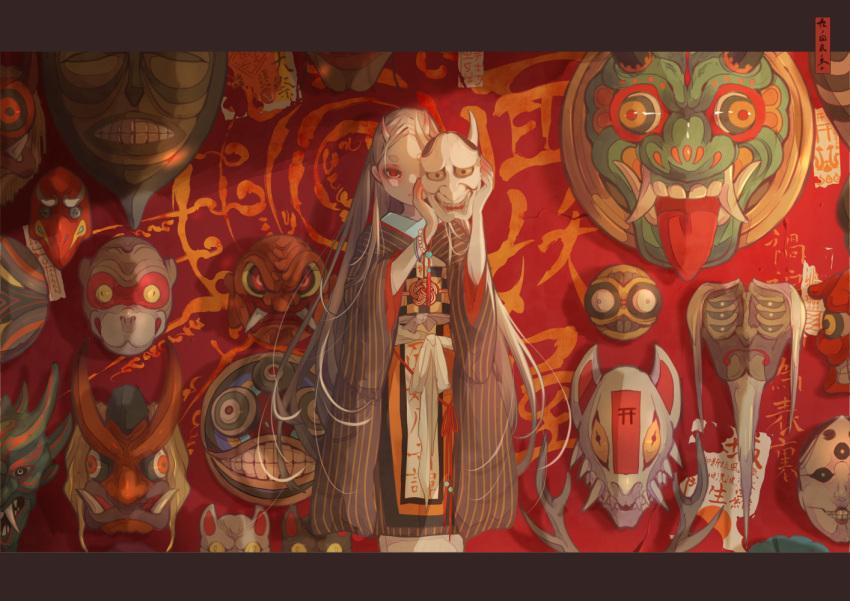 1girl antlers beads bracelet checkered feet_out_of_frame furisode holding holding_mask japanese_clothes jewelry kimono letterboxed long_hair looking_at_viewer magic_circle mask mask_removed monkey_mask nanahara_shie noh_mask obi one_eye_covered oni oni_horns oni_mask original red_background red_eyes sash solo standing striped talisman tassel vertical_stripes very_long_hair
