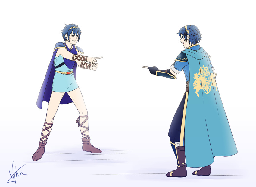 00s 10s 2020s 2boys 90s :d armor black_footwear black_gloves black_pants blue_background blue_cape blue_eyes blue_hair blue_tunic boots brown_footwear cape commentary disney dual_persona fingerless_gloves fire_emblem fire_emblem:_ankoku_ryuu_to_hikari_no_tsurugi fire_emblem:_new_mystery_of_the_emblem fire_emblem:_shadow_dragon_and_the_blade_of_light fire_emblem:_shin_monshou_no_nazo fire_emblem_1 fire_emblem_12 from_behind gloves gradient gradient_background greaves grin intelligent_systems looking_at_another marth_(fire_emblem) marvel multiple_boys nintendo open_mouth pants parody pauldrons pointing pointing_spider-man profile short_sleeves signature sleeveless smile spider-man_(series) super_smash_bros. thighs tiara tunic vambraces visyaoran white_background yellow_belt