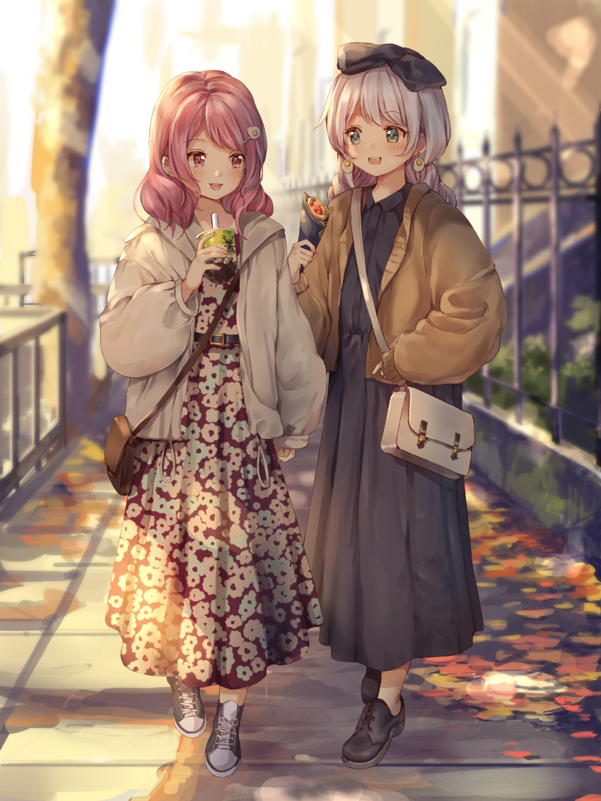 2girls absurdres aqua_eyes arm_up autumn_leaves bag bang_dream! bangs belt belt_buckle black_footwear blurry blurry_background blush braid brown_jacket bubble_tea buckle collared_dress commentary_request crepe cup depth_of_field dot_nose drawstring dress drinking_straw earrings eyebrows_visible_through_hair fence floral_print food full_body grey_dress hair_ornament hair_over_shoulder handbag highres holding holding_cup holding_food jacket jewelry long_hair long_skirt long_sleeves looking_at_another maruyama_aya medium_hair multiple_girls nogi_momoko open_clothes open_jacket open_mouth path pink_eyes pink_hair puffy_sleeves shoes side-by-side silver_hair skirt sleeve_cuffs sleeves_past_wrists smile swept_bangs twin_braids upper_teeth wakamiya_eve walking white_jacket wide_sleeves