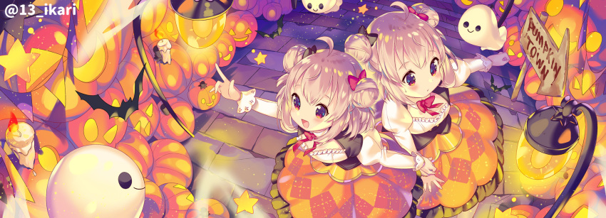 2girls :d ahoge animal argyle argyle_skirt bat black_bow blush bow breasts brown_hair burning candle closed_mouth commentary_request directional_arrow double_bun fire frilled_skirt frills hair_bow halloween highres holding_hand ikari_(aor3507) jack-o'-lantern juliet_sleeves lamppost long_sleeves multiple_girls open_mouth orange_skirt original pointing puffy_sleeves red_bow redhead shirt sign skirt small_breasts smile star sweat twitter_username white_shirt