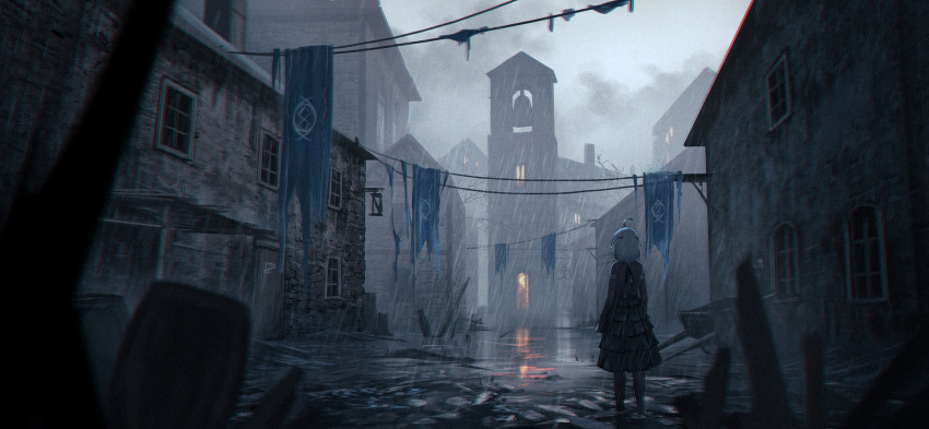 1girl barrel bell_tower black_dress black_legwear blurry building cart chinese_commentary clouds cloudy_sky commentary_request dress facing_away grey_sky highres house original outdoors overcast pantyhose pushcart rain short_hair sky solo standing tattered_flag tree water white_hair wide_shot window yurichtofen