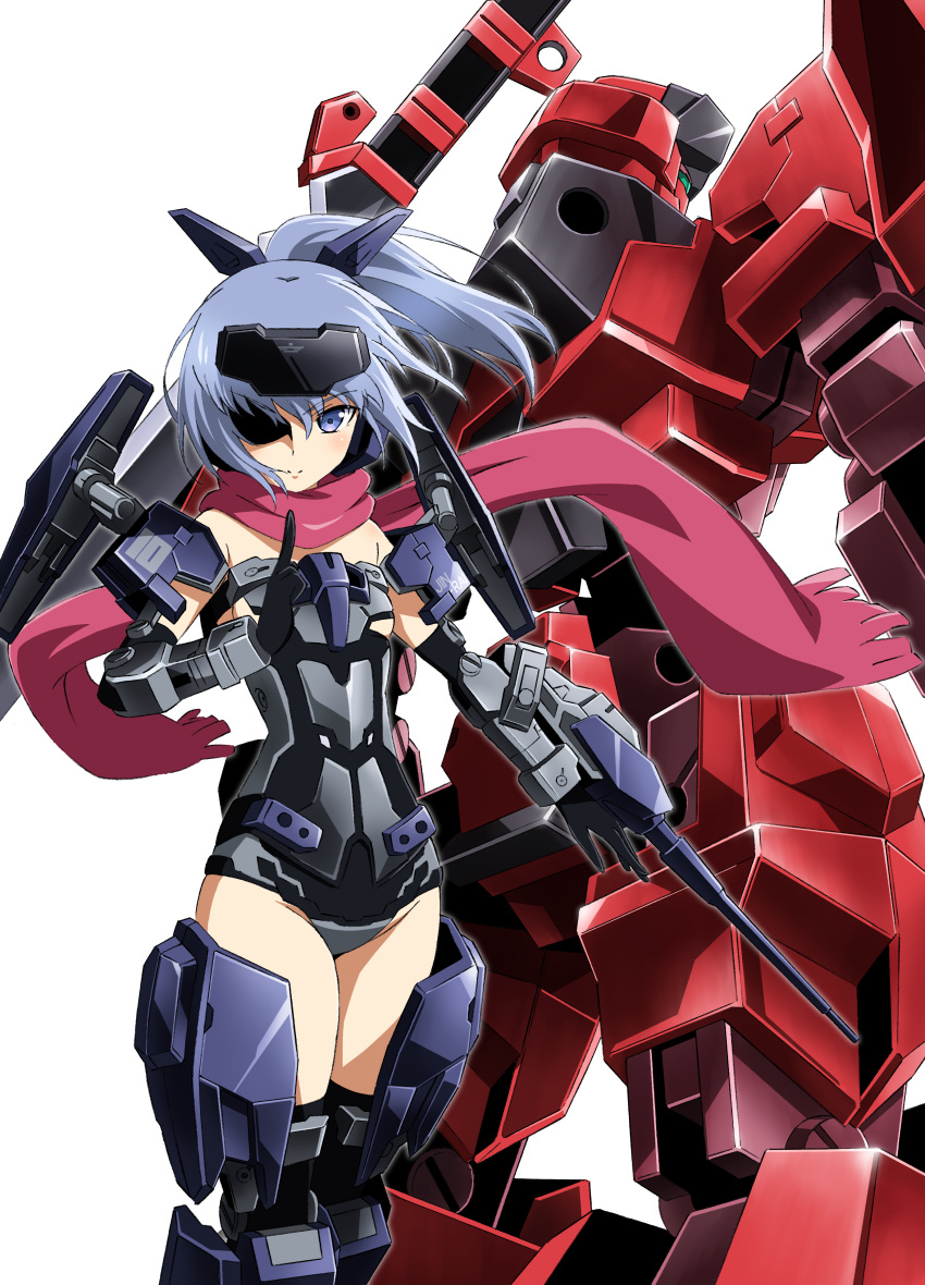 1girl absurdres arm_cannon bare_shoulders black_gloves black_legwear black_leotard blue_eyes blue_hair elbow_gloves frame_arms frame_arms_girl gloves green_eyes headgear high_ponytail highres jinrai_(frame_arms) jinrai_(frame_arms_girl) leotard looking_at_viewer mecha mecha_musume robot scarf short_hair strapless strapless_leotard sword thigh-highs thighs weapon white_background