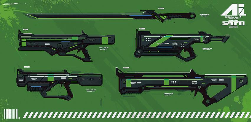 assault_rifle esuthio gun machine_gun no_humans original rifle science_fiction shotgun sniper_rifle submachine_gun sword weapon