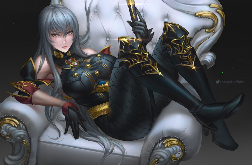 1girl bangs bare_shoulders black_background black_gloves boots breasts chair gloves hair_between_eyes high_heel_boots high_heels large_breasts long_hair looking_at_viewer lying military military_uniform on_back orange_eyes parted_lips pink_lips selvaria_bles senjou_no_valkyria senjou_no_valkyria_1 silver_hair sitting sleeves_rolled_up thighs unfairr uniform
