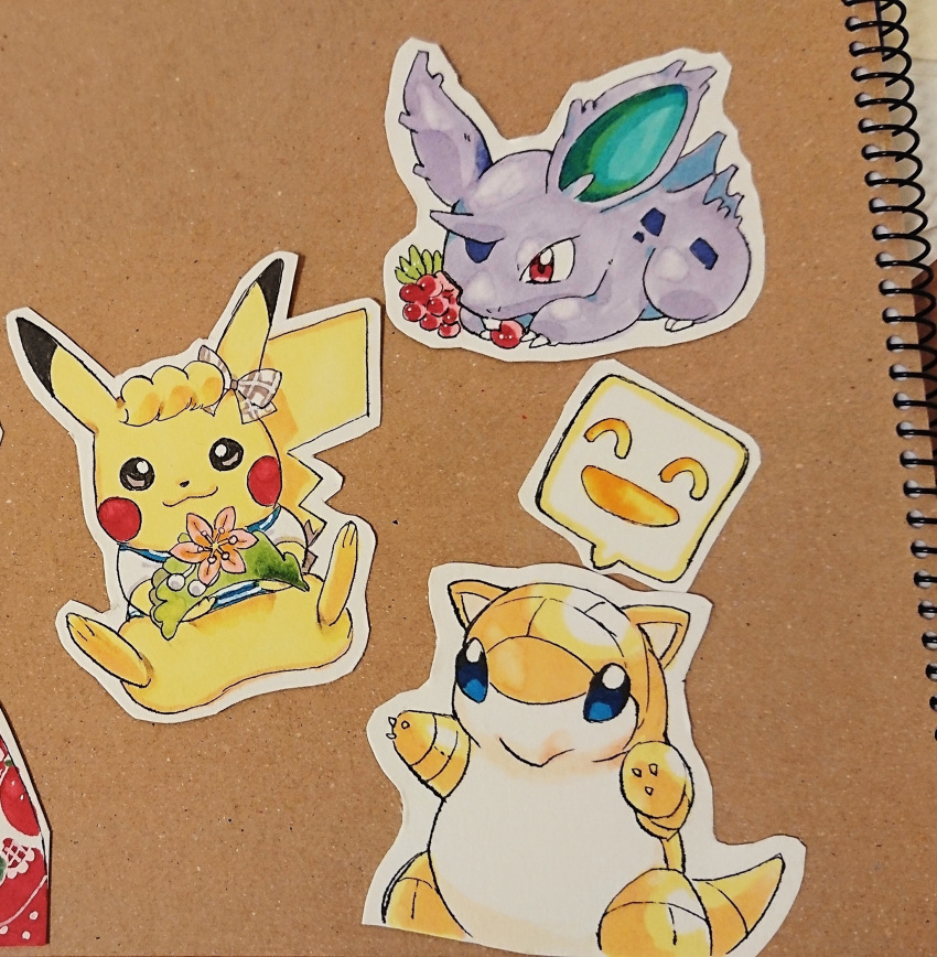 :3 absurdres arms_up berry black_eyes blonde_hair blue_eyes blush_stickers bottomless bow brown_background claws closed_mouth clothed_pokemon cutout eating flower full_body gen_1_pokemon hair_bow happy highres nago_celica nidoran outline outstretched_arms pikachu pink_flower pokemon red_eyes sandshrew shirt short_sleeves simple_background sitting smile speech_bubble traditional_media white_outline white_shirt