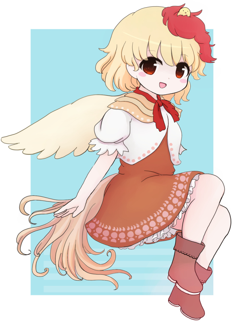 1girl :d animal animal_on_head aqua_background bird bird_on_head bird_tail bird_wings blonde_hair blush_stickers boots brown_dress brown_footwear chibi chick commentary dress feathered_wings highres layered_dress leg_lift looking_at_viewer multicolored_hair niwatari_kutaka on_head open_mouth petticoat puffy_short_sleeves puffy_sleeves red_eyes red_neckwear red_ribbon redhead rei_(tonbo0430) ribbon short_hair short_sleeves simple_background sitting smile solo symbol_commentary touhou two-tone_hair wings