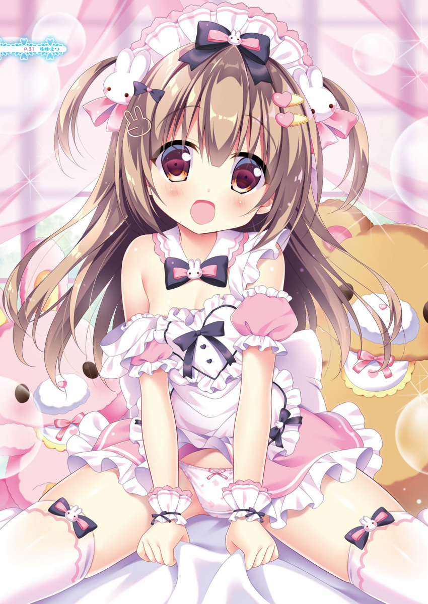1girl :d absurdres animal_print apron bed_sheet black_bow black_neckwear blush bow bow_panties bowtie breasts brown_eyes brown_hair bunny_hair_ornament bunny_panties bunny_print collar curtains day detached_collar detached_sleeves frilled_apron frilled_skirt frilled_sleeves frills hair_bow hair_ornament hairclip heart heart_hair_ornament heart_panties heart_print highres indoors looking_at_viewer maid maid_apron maid_headdress off_shoulder open_mouth original panties pink_bow pink_skirt pink_sleeves print_panties puffy_short_sleeves puffy_sleeves sheet_grab short_sleeves sitting skirt small_breasts smile solo spread_legs stuffed_animal stuffed_bunny stuffed_toy teddy_bear thigh-highs transparent two_side_up underwear white_apron white_collar white_legwear white_panties window wrist_cuffs yuyumatsu