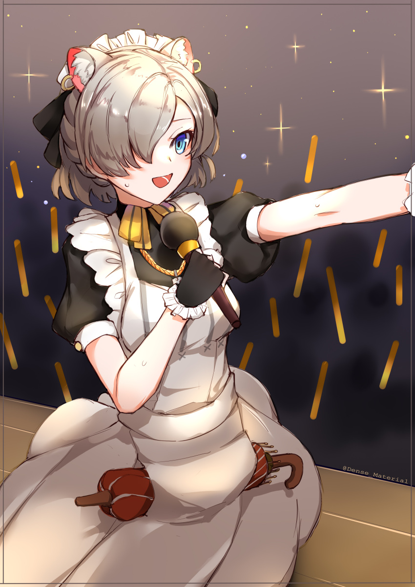 1girl :d absurdres animal_ear_fluff animal_ears apron bangs black_gloves black_shirt blue_eyes breasts brown_hair choumi_wuti_(xueye_fanmang_zhong) closed_umbrella commentary_request copyright_request ear_piercing frilled_gloves frills gloves glowstick hair_over_one_eye highres holding holding_microphone looking_away maid maid_headdress microphone open_mouth outstretched_arm piercing puffy_short_sleeves puffy_sleeves red_umbrella shirt short_sleeves small_breasts smile solo sweat twitter_username umbrella virtual_youtuber white_apron