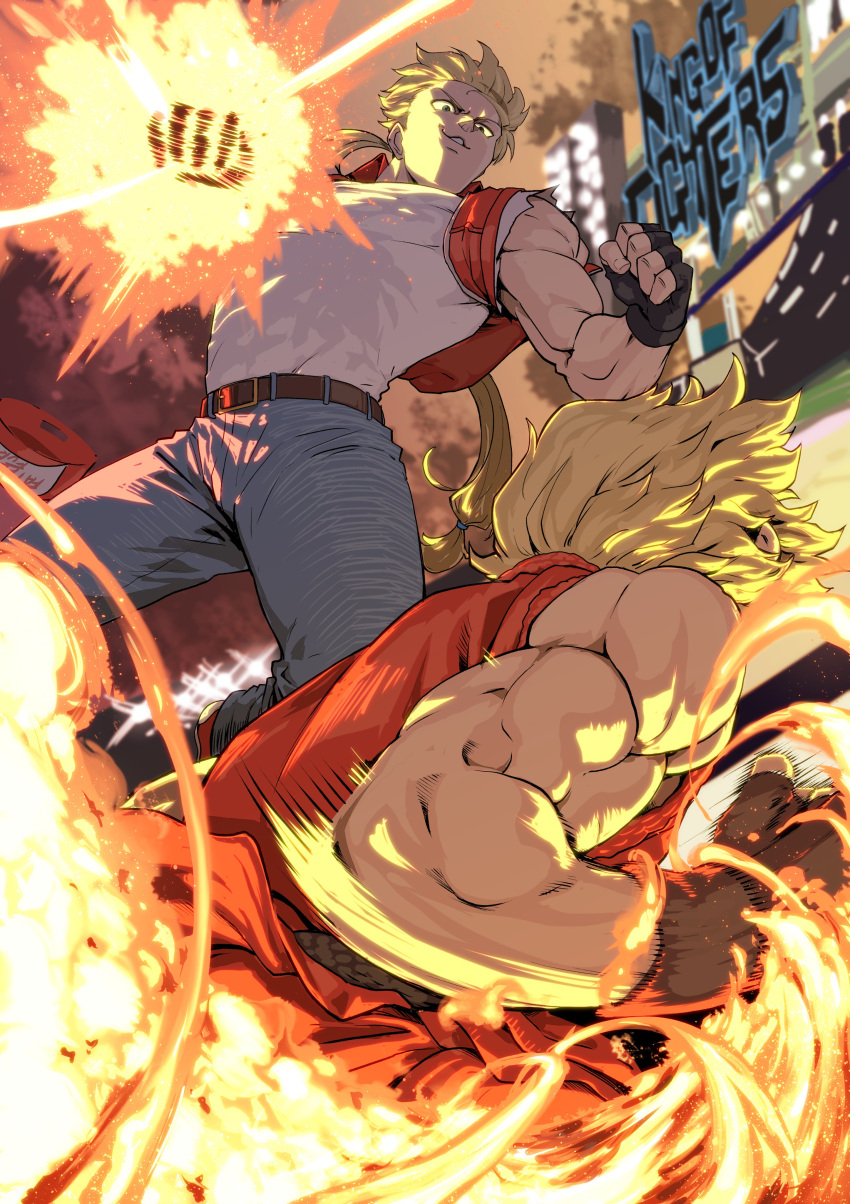 2boys absurdres after_(artist) baseball_cap battle black_gloves blonde_hair capcom capcom_vs_snk commentary_request denim dougi duel fatal_fury fingerless_gloves fire from_behind gloves hat hat_removed headwear_removed highres jeans ken_masters long_hair looking_at_another low-tied_long_hair male_focus multiple_boys muscle pants ponytail red_vest shirt snk sora_(company) street_fighter super_smash_bros. super_smash_bros._ultimate terry_bogard the_king_of_fighters vest white_shirt