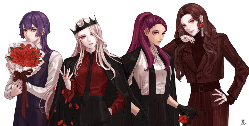 4girls bernadetta_von_varley black_gloves black_neckwear bouquet braid brown_hair crown dorothea_arnault earrings edelgard_von_hresvelg fire_emblem fire_emblem:_three_houses flower formal gloves hand_in_pocket head_tilt highres jacket_on_shoulders jewelry long_hair looking_at_viewer multiple_girls muntjac_art necktie parted_lips petals petra_macneary ponytail purple_hair ring rose rose_petals silver_hair simple_background smile stud_earrings suit undone_tie waistcoat wavy_hair