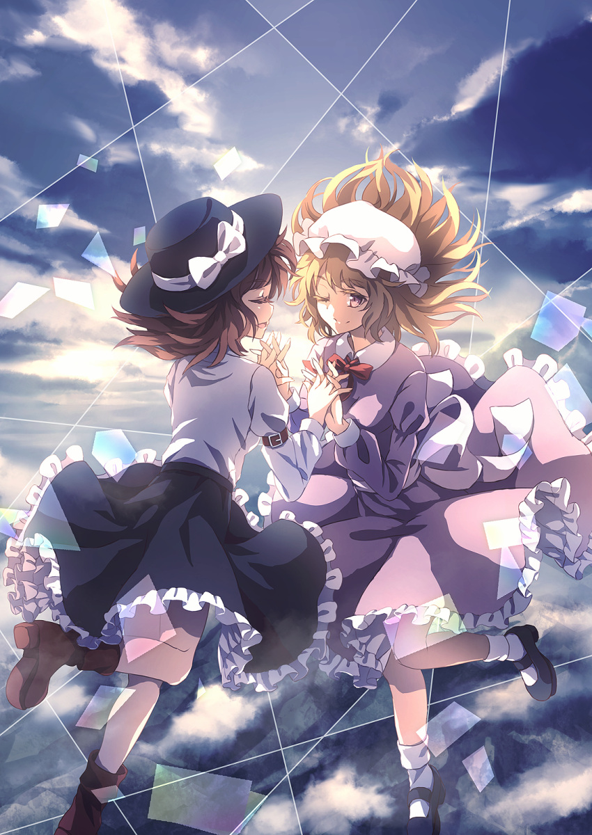 2girls ;) album_cover backlighting bangs black_footwear black_headwear black_skirt blonde_hair blue_shirt blue_sky bow brown_footwear brown_hair closed_mouth clouds commentary_request cover day dise dress eyebrows_visible_through_hair frilled_dress frilled_skirt frills hands_up hat hat_bow highres holding_hands interlocked_fingers juliet_sleeves leg_up long_sleeves maribel_hearn mary_janes medium_hair mob_cap multiple_girls one_eye_closed open_mouth puffy_long_sleeves puffy_sleeves purple_dress red_neckwear sash shirt shoes skirt sky smile standing standing_on_one_leg touhou usami_renko violet_eyes white_bow white_headwear white_legwear