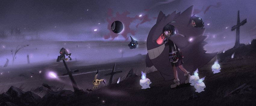 1boy absurdres ahoge bag banette black_hair cross duskull fog gastly gen_1_pokemon gen_3_pokemon gen_5_pokemon gen_7_pokemon gengar gloves glowing graveyard gym_leader highres hitodama litwick long_sleeves mask mimikyu onion_(pokemon) outdoors poke_ball poke_ball_(generic) pokemon pokemon_(creature) pokemon_(game) pokemon_swsh purple_theme shorts shuppet single_glove suspenders violet_eyes xuefei_(snowdrop)