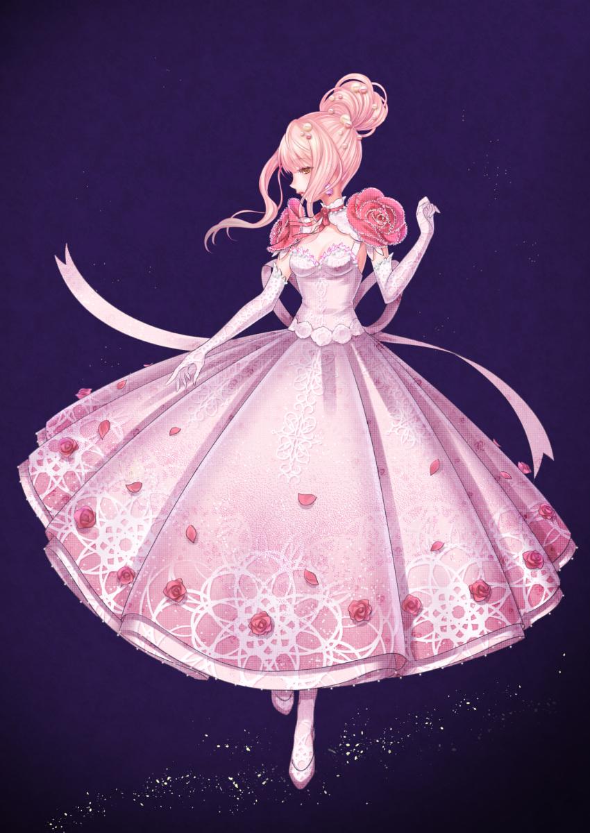 1girl bangs beads blunt_bangs breasts brown_eyes choker crystal dress earrings elbow_gloves flower full_body gloves hagehiro hair_beads hair_bun hair_ornament highres jewelry light_particles miracle_nikki nikki_(miracle_nikki) pantyhose pearl_(gemstone) petals pink_dress pink_flower pink_footwear pink_gloves pink_hair pink_legwear pink_ribbon pink_rose profile purple_background ribbon ribbon_choker rose sidelocks simple_background sleeveless sleeveless_dress small_breasts solo