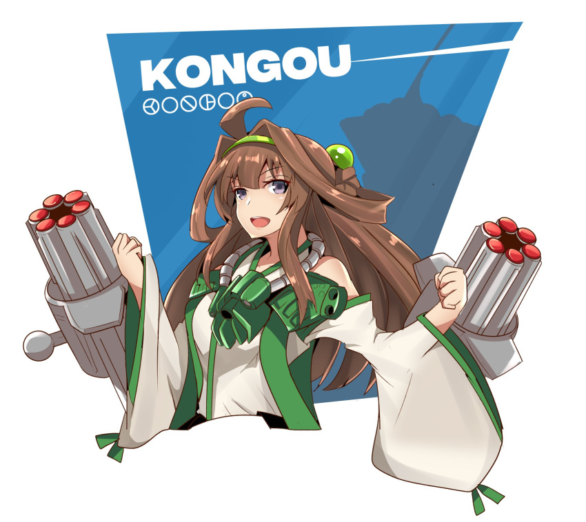 1girl ahoge altronage bangs bionicle blue_background braid character_name clenched_hands commentary commission cosplay cropped_torso english_commentary eyebrows_visible_through_hair green_hairband hair_between_eyes hairband hands_up highres kantai_collection kongou_(kantai_collection) kongu_(bionicle) kongu_(bionicle)_(cosplay) long_hair long_sleeves looking_at_viewer open_mouth round_teeth sleeves_past_wrists solo teeth the_lego_group two-tone_background upper_body upper_teeth v-shaped_eyebrows very_long_hair violet_eyes white_background wide_sleeves