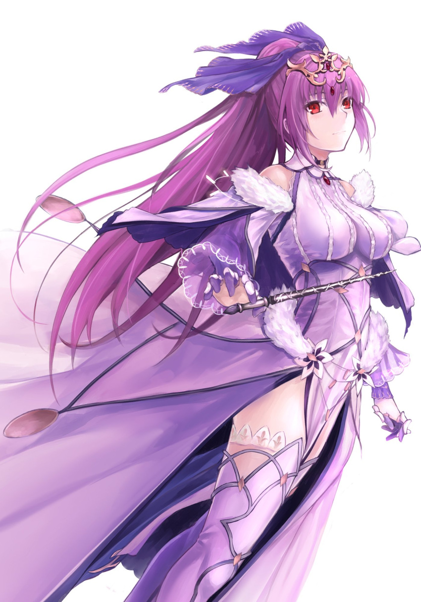 bangs bk201 boots dress fate/grand_order fate_(series) fur-trimmed_dress fur_trim hair_between_eyes headpiece highres holding holding_wand light_blush light_smile purple_dress purple_hair purple_ribbon red_eyes ribbon scathach_(fate)_(all) scathach_skadi_(fate/grand_order) simple_background thigh-highs thigh_boots tiara wand white_background