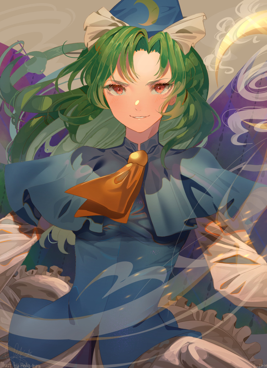 1girl artist_name ascot blue_cape blue_capelet blue_dress blush bow cape capelet clenched_teeth commentary cowboy_shot crescent_moon crescent_print dated dress evil_grin evil_smile eyebrows floating_hair frilled_dress frills ghost_tail green_eyes green_hair grin hair_intakes hat hat_bow heikokuru1224 highres holding holding_staff long_hair long_sleeves looking_at_viewer mima moon orange_neckwear red_eyes sidelocks smile smoke solo sparks spirit staff teeth touhou touhou_(pc-98) wand white_bow wings wizard_hat yellow_neckwear