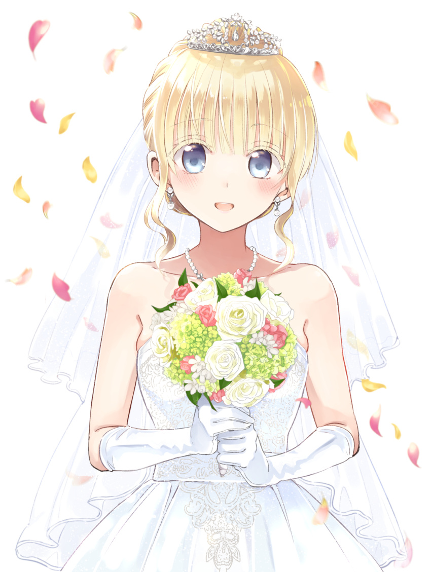 1girl :d bangs bare_shoulders blonde_hair blue_eyes bouquet bridal_veil bride check_character collarbone colored_eyelashes commentary_request crown dress earrings elbow_gloves eyebrows_visible_through_hair flower gloves highres holding holding_bouquet jewelry juliet_persia kishuku_gakkou_no_juliet looking_at_viewer natsupa necklace open_mouth petals rose short_hair simple_background smile solo strapless strapless_dress upper_body veil white_background white_dress white_flower white_gloves white_rose