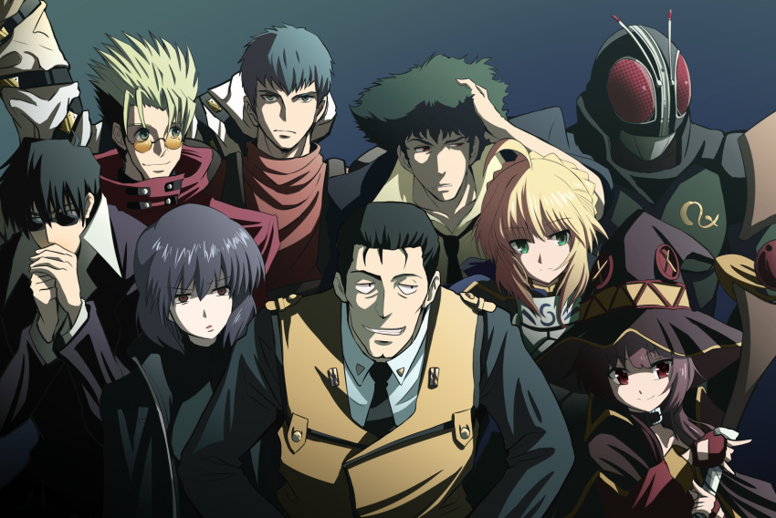 3girls 6+boys ahoge armor artoria_pendragon_(all) black_hair blonde_hair braid chirico_cuvie cowboy_bebop fate/stay_night fate_(series) french_braid fujitaka_nasu ghost_in_the_shell glasses gotou_kiichi green_eyes hair_between_eyes hat highres holding holding_staff kamen_rider kamen_rider_black_rx kamen_rider_black_rx_(series) kidou_keisatsu_patlabor kono_subarashii_sekai_ni_shukufuku_wo! kusanagi_motoko multiple_boys multiple_girls red_eyes saber serious sidelocks smile soukou_kihei_votoms spike_spiegel staff sunglasses upper_body vash_the_stampede witch_hat