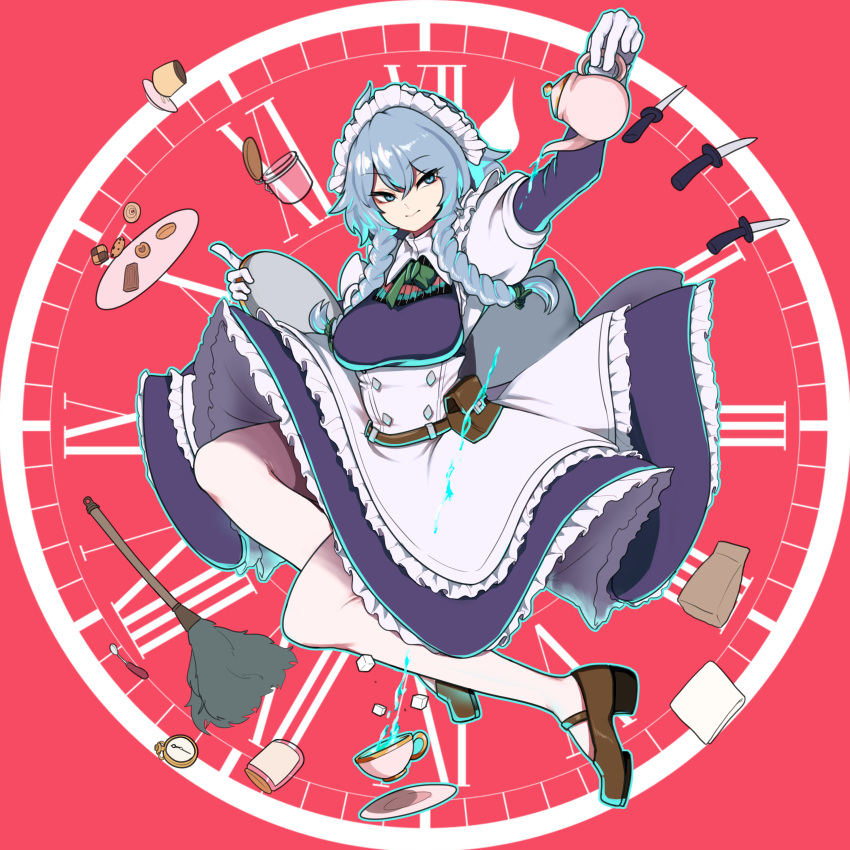 1girl absurdres apron arm_up bag belt belt_pouch blue_dress blue_eyes blue_hair bobby36446329 braid clock closed_mouth commentary_request cookie cup decantering dress duster food handkerchief highres izayoi_sakuya jar knife korean_commentary long_hair long_sleeves looking_to_the_side maid maid_headdress paper_bag pocket_watch pouch pouring pudding red_background solo sugar_cube teacup teapot touhou tray tsurime twin_braids watch white_legwear