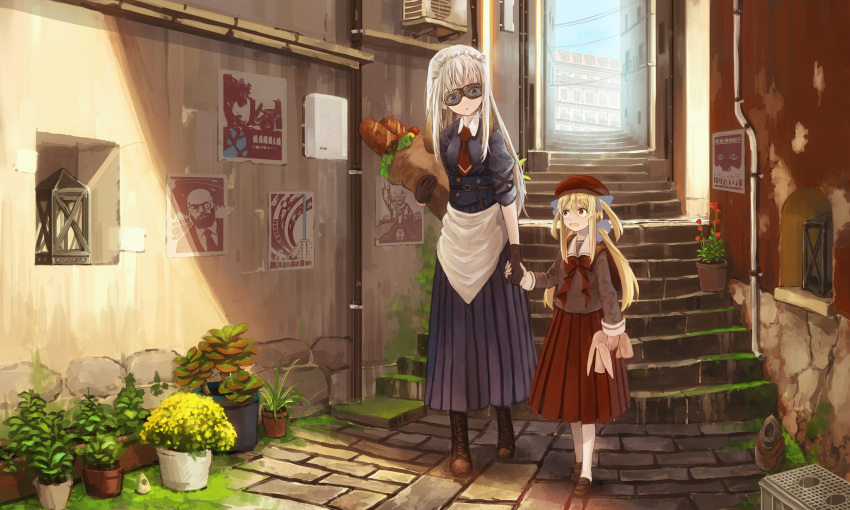 2girls age_difference bag beret blonde_hair blue_eyes bread commentary food gloves goggles hat highres holding_hands long_hair maid maid_cap multiple_girls original plant potted_plant red_eyes scenery shopping_bag stairs stuffed_toy sudzuke twintails two_side_up white_hair