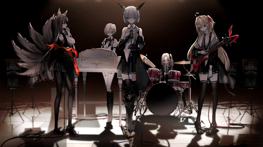 5girls admiral_hipper_(azur_lane) admiral_hipper_(muse)_(azur_lane) ahoge akagi_(azur_lane) akagi_(muse)_(azur_lane) animal_ears armored_boots azur_lane black_hair black_jacket black_legwear black_skirt boots breasts brown_hair cleveland_(azur_lane) cleveland_(muse)_(azur_lane) collared_shirt commentary_request dark drum drum_set electric_guitar fire fox_ears fox_girl fox_tail gascogne_(azur_lane) gascogne_(muse)_(azur_lane) guitar holding holding_instrument holding_microphone idol instrument jacket kitsune large_breasts long_hair long_sleeves looking_at_viewer microphone miniskirt multiple_girls multiple_tails naruwe off_shoulder open_clothes open_jacket pantyhose piano polaris_(azur_lane) shadow sheffield_(azur_lane) sheffield_(muse)_(azur_lane) shirt shoes short_hair skirt sleeveless sleeveless_shirt speaker standing tail thigh-highs thigh_boots very_long_hair white_shirt zettai_ryouiki