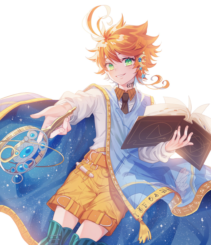 1girl absurdres ahoge belt book brown_belt collared_shirt emma_(yakusoku_no_neverland) eyebrows_visible_through_hair green_eyes hair_between_eyes hair_ornament highres holding holding_book holding_wand light_blush long_sleeves looking_at_viewer neck_tattoo necktie open_book orange_hair outstretched_arm outstretched_hand reaching_out shirt short_hair short_shorts shorts smile solo star star_hair_ornament striped striped_legwear tattoo thigh-highs vertical-striped_legwear vertical_stripes wand white_background white_shirt yakusoku_no_neverland zettai_ryouiki