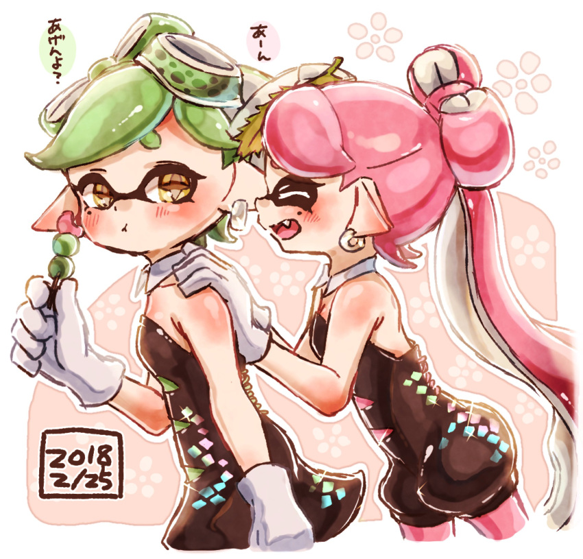+_+ 2girls :t aori_(splatoon) black_dress black_jumpsuit brown_eyes closed_eyes closed_mouth commentary cousins dango dated detached_collar domino_mask dress earrings eating facing_another food food_on_head from_side gloves green_hair hands_on_another's_shoulders harutarou_(orion_3boshi) highres holding holding_food hotaru_(splatoon) jewelry leaf leaf_on_head leaning_forward long_hair looking_at_viewer mask mole mole_under_eye multiple_girls object_on_head open_mouth pantyhose pink_hair pink_legwear pointy_ears sanshoku_dango short_dress short_hair short_jumpsuit smile sparkle splatoon_(series) splatoon_1 standing strapless strapless_dress tentacle_hair translated wagashi white_gloves