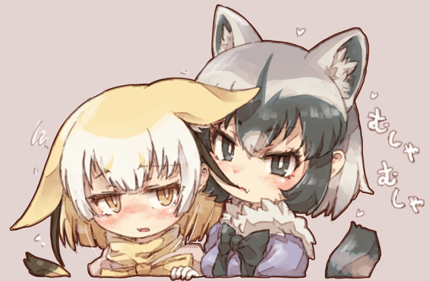 2girls animal_ears black_hair black_neckwear blonde_hair blue_eyes blue_sweater blush bow bowtie commentary_request common_raccoon_(kemono_friends) ears_down extra_ears eyebrows_visible_through_hair fang fennec_(kemono_friends) fox_ears fox_girl fox_tail fur_collar grey_hair hair_in_mouth highres kemono_friends kolshica multicolored_hair multiple_girls nibbling nose_blush pink_sweater puffy_short_sleeves puffy_sleeves raccoon_ears raccoon_girl raccoon_tail short_hair short_sleeves sweater tail translated white_hair yellow_eyes yellow_neckwear