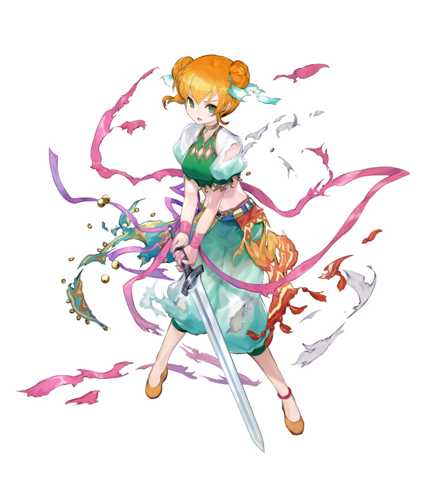 1girl ballerina bangs breasts double_bun fire_emblem fire_emblem:_the_binding_blade fire_emblem_heroes full_body green_eyes highres kawasumi_mahiro larum_(fire_emblem) medium_breasts midriff navel official_art orange_hair pants shiny shiny_hair shoes short_sleeves solo stomach tied_hair transparent_background