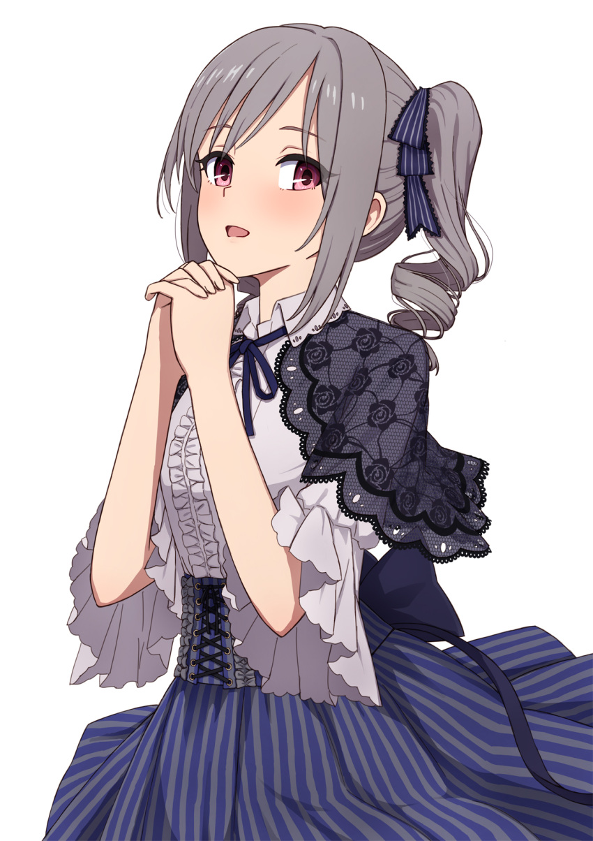1girl :d black_capelet blue_bow blue_neckwear blue_ribbon blue_skirt blush bow capelet center_frills collar cowboy_shot drill_hair floral_print frilled_shirt frills hair_bow hands_clasped highres idolmaster idolmaster_cinderella_girls kanzaki_ranko long_hair neck_ribbon open_mouth own_hands_together print_capelet red_eyes ribbon rose_print see-through shirt short_sleeves sidelocks simple_background skirt smile solo striped striped_bow twin_drills twintails vertical-striped_skirt vertical_stripes white_background yahiro_(epicopeiidae)