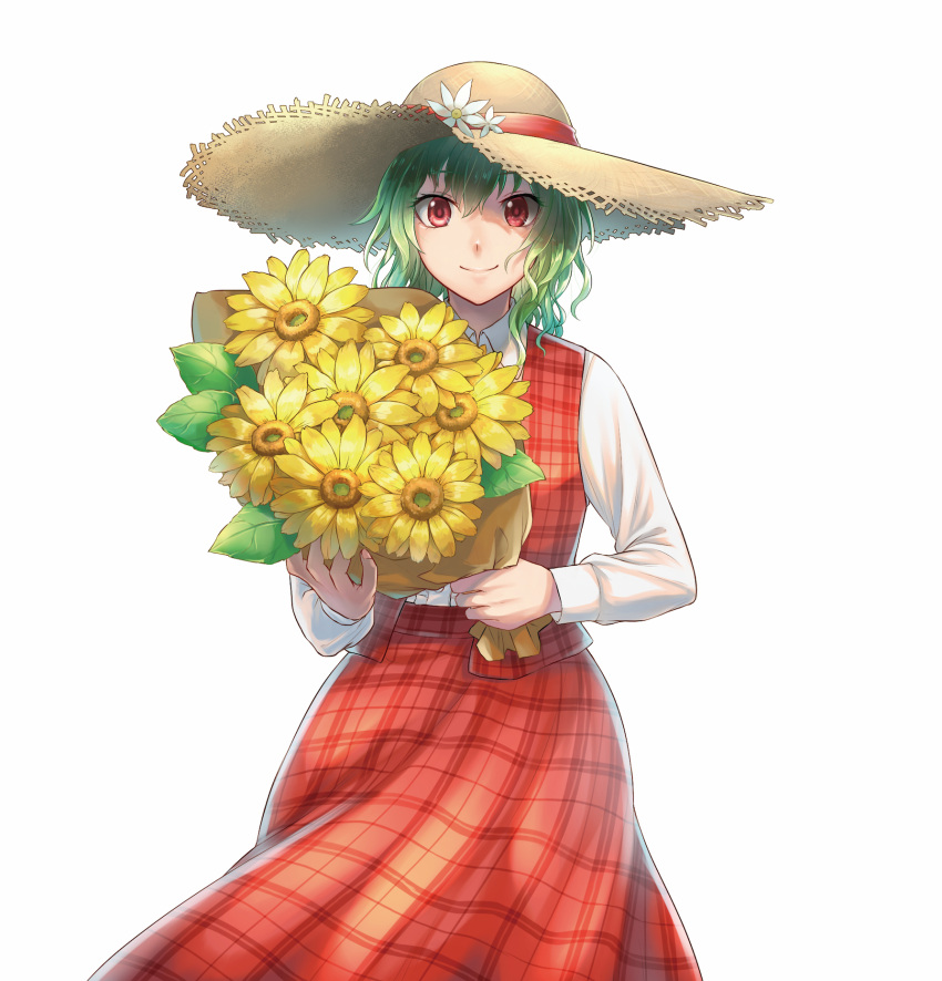 1girl backlighting bangs bouquet collared_shirt colored_eyelashes cowboy_shot eyebrows_visible_through_hair fingernails flower green_hair hat hat_flower hat_ribbon highres kazami_yuuka long_skirt long_sleeves looking_at_viewer open_clothes open_skirt outline pink_nails plaid plaid_skirt plaid_vest raito_(latek) red_eyes red_ribbon red_skirt red_vest reflective_eyes ribbon shiny shiny_clothes shirt short_hair simple_background skirt skirt_set smile solo straw_hat touhou vest wavy_hair white_background white_shirt wind
