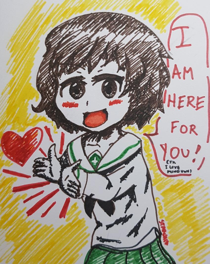1girl akiyama_yukari brown_eyes brown_hair cornstarchia girls_und_panzer green_skirt heart seifuku