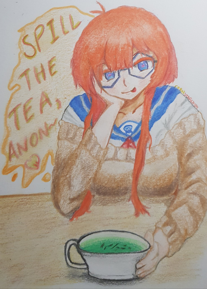 1girl blue_eyes blue_glasses blush cornstarchia drawing glasses green_tea heart-shaped_pupils iacademy_confessions koku-chan(iacademy_confessions) looking_at_viewer orange_eyebrows orange_hair seifuku sweater table teacup tongue_out traditional_art