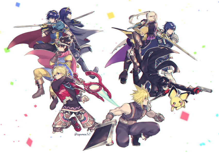 1girl a-1_pictures absurdres amamiya_ren animal atlus baby_pokemon bird_studio blonde_hair blue_eyes brown_hair buster_sword cape chrom_(fire_emblem) cloud_strife cloverworks creatures_(company) dragon_quest dragon_quest_iii dragon_quest_xi falchion_(fire_emblem) father_and_daughter female_my_unit_(fire_emblem:_kakusei) final_fantasy final_fantasy_vii fingerless_gloves fire_emblem fire_emblem:_kakusei fire_emblem:_monshou_no_nazo fire_emblem:_mystery_of_the_emblem fire_emblem:_shin_ankoku_ryuu_to_hikari_no_tsurugi fire_emblem_awakening fire_emblem_shadow_dragon game_freak gloves great_grandfather_and_great_granddaughter gun hair_ornament hero_(dq11) highres human husband_and_wife intelligent_systems long_hair looking_at_viewer lucina lucina_(fire_emblem) marth_(fire_emblem) mask monado monolith_soft monster_games mouse my_unit_(fire_emblem:_kakusei) nintendo olm_digital persona pichu pokemon pokemon_(creature) reflet rei_(teponea121) robin_(fire_emblem) robin_(fire_emblem)_(female) roto short_hair shulk simple_background smile sora_(company) square_enix super_smash_bros. super_smash_bros._ultimate super_smash_bros_brawl super_smash_bros_melee sword tiara twintails weapon white_hair xenoblade_(series) xenoblade_1 xenoblade_chronicles