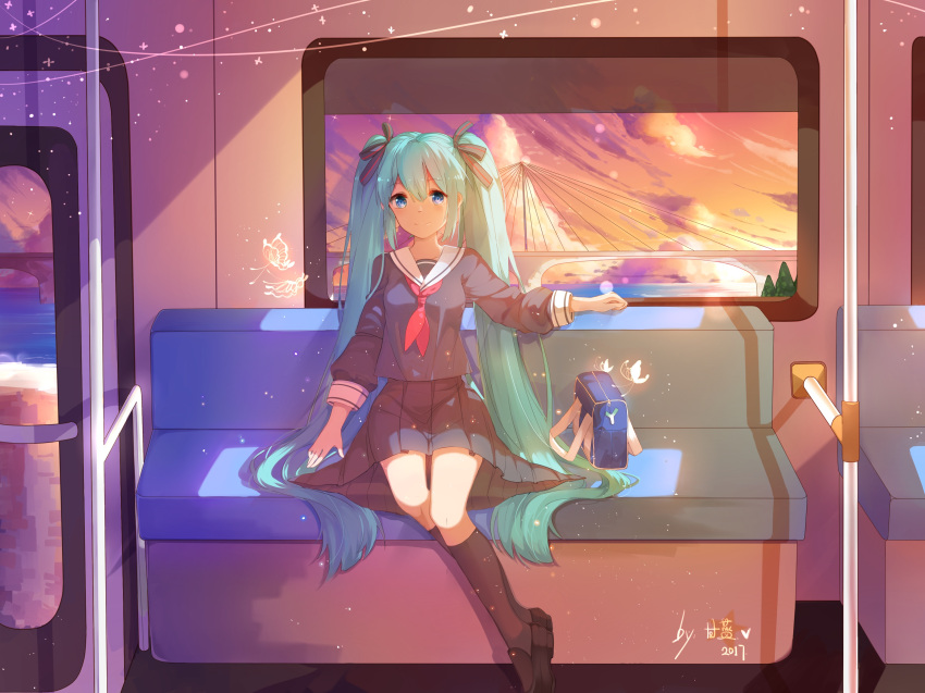 1girl absurdres aqua_hair bag black_footwear blue_eyes blue_shirt blue_skirt bridge bug butterfly chinese_commentary clouds cloudy_sky collar commentary_request dress full_body glowing_butterfly ground_vehicle hair_ribbon hatsune_miku highres insect kneehighs long_sleeves looking_at_viewer neckerchief pleated_dress red_neckwear ribbon river sailor_collar school_uniform serafuku shirt shoes short_hair sitting skirt sky smile solo spring_onion spring_onion_print stuko train train_interior twilight twintails very_short_hair vocaloid white_collar