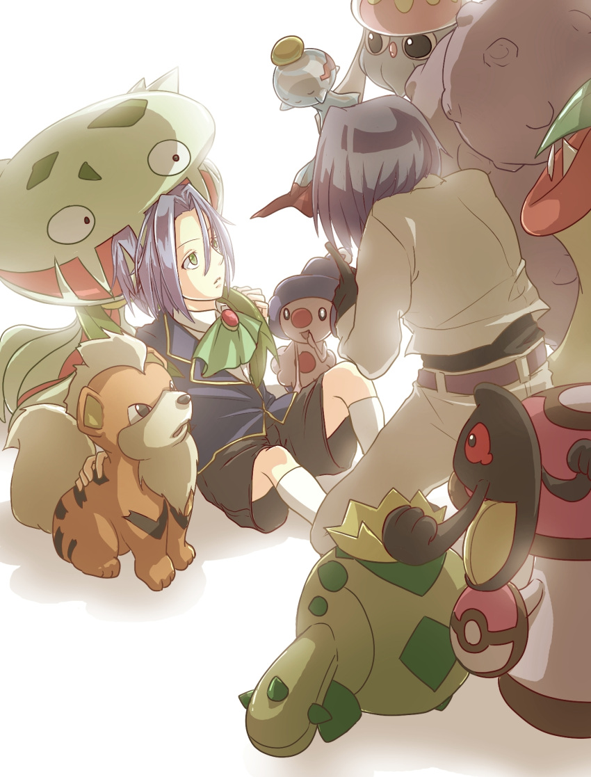 1boy blue_hair cacnea chimecho gardear058 green_eyes growlithe highres inkay kojirou_(pokemon) mime_jr. pokemon victreebel weezing yamask