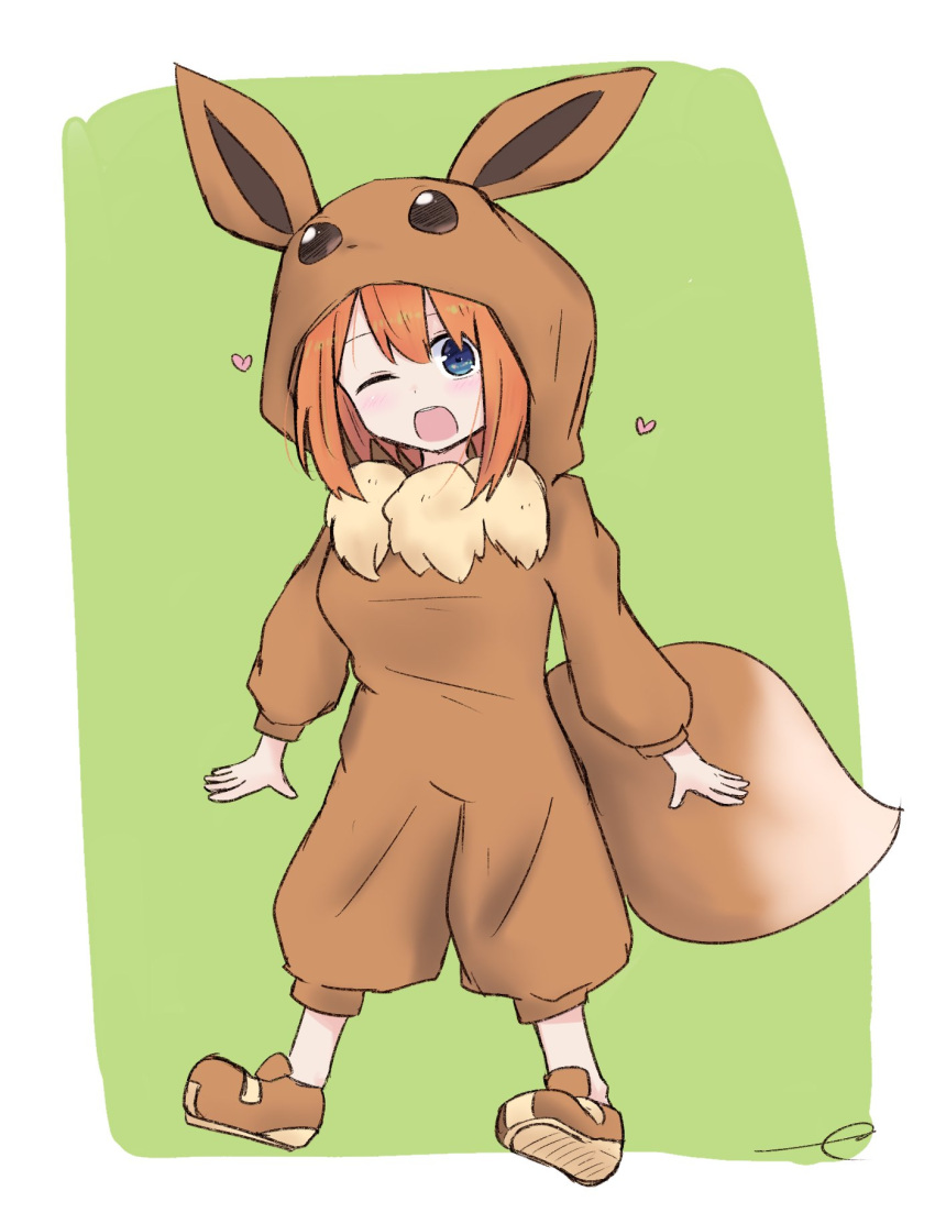 1girl ;d bangs blue_eyes blush brown_footwear commentary_request cosplay eevee eevee_(cosplay) eevee_ears eevee_tail eyebrows_behind_hair full_body gen_1_pokemon go-toubun_no_hanayome green_background hair_between_eyes heart highres hood hood_up kujou_karasuma long_sleeves nakano_yotsuba one_eye_closed open_mouth orange_hair pokemon puffy_long_sleeves puffy_sleeves shoe_soles shoes signature smile solo two-tone_background upper_teeth white_background
