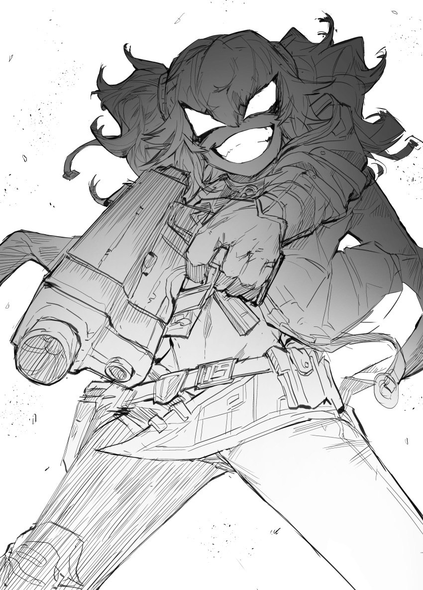1girl absurdres girls_frontline gun highres holding holding_weapon long_hair monochrome no_pupils pa-15_(girls_frontline) sketch smile solo takoongyi wavy_hair weapon